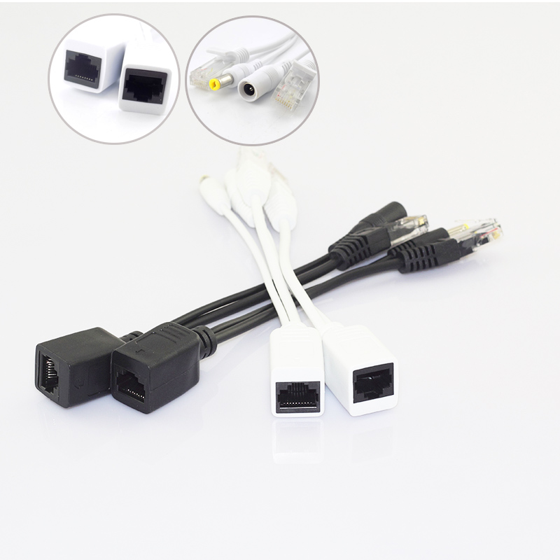 Gakaki 1 Pair 12v POE Splitter Adapter Accessories RJ45 Injector Kit Power Cable Camera Cctv Connector for Security Camera Cctv