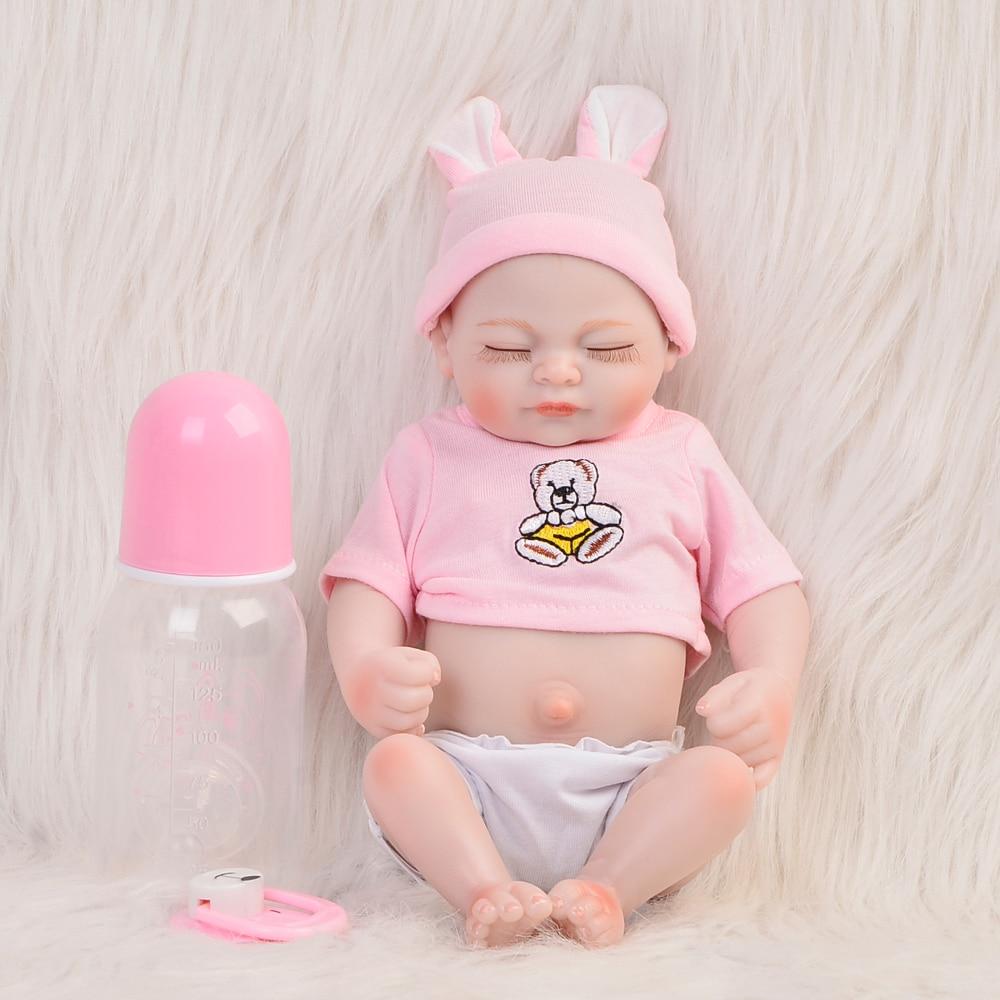 Lifelike Alive Girl Boneca Babies Dolls Full Silicone Vinyl 11 Inch Reborn Newborn Baby Doll With Closed Eyes Kids Birthday Gift