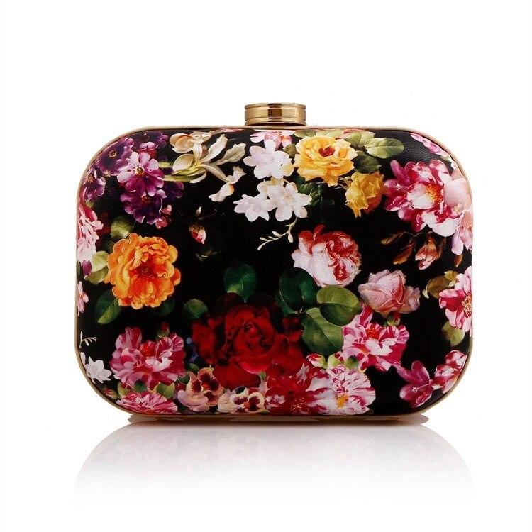 ФОТО Fashion Womens Floral Print Hard Evening Party Clutch Bag Handbags Purse Satchel