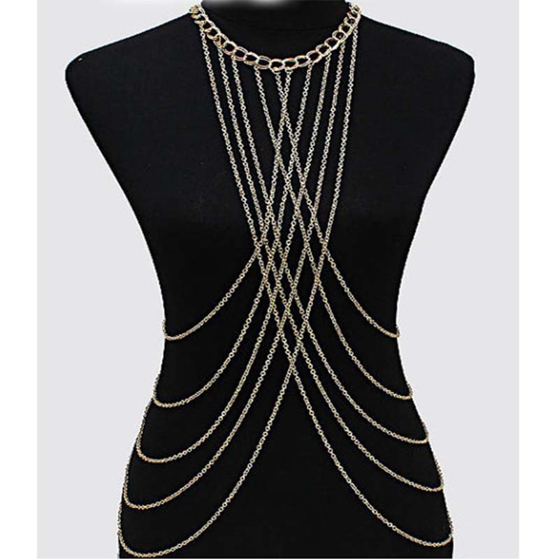 Fashion 2019 Sexy Hyperbole  Flash Crystal Tassel Body Chain Necklace Choker Jewelry For Women