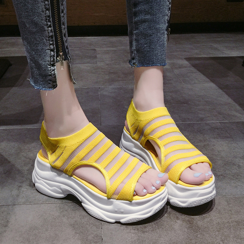 Elastic Belt Sports Sandals Summer New Women's Shoes Women's Thick Bottom Fish Mouth Mesh Sandals Stretch Fabric Beach shoes 29
