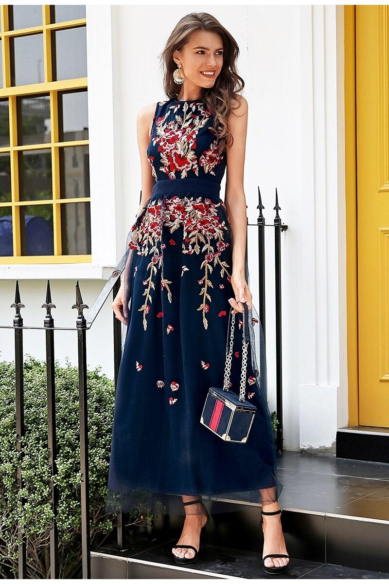Elegant Mesh Overlay Sleeveless Embroidery Navy Blue Dress