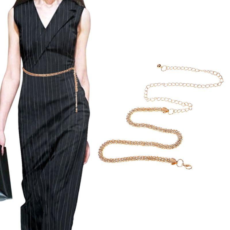 Trendy Gold Metal Waist Chain Decoration Dress Belt Luxury Female Waistband Elegant Waist Chain