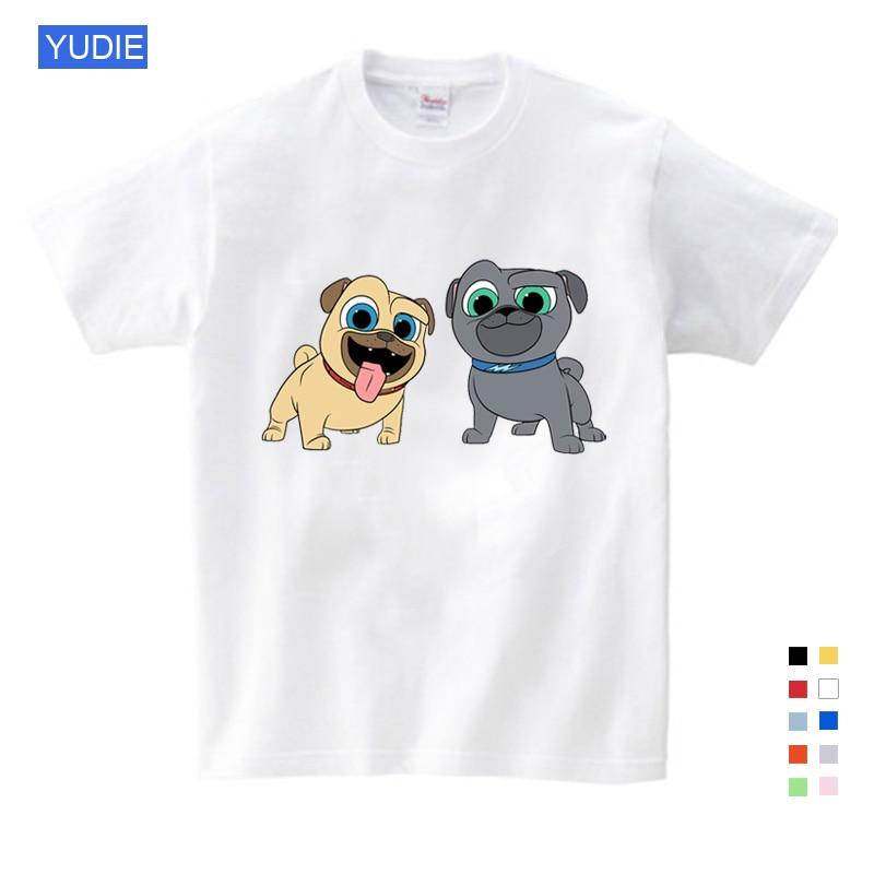 Summer Cartoon Dog Friends Print Tee Tops for Boy Girls Kids Clothes White 3D Funny T-shirt T Shirt YUDIE
