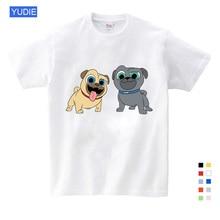 Summer Cartoon Dog Friends Print Tee Tops for Boy Girls Kids Clothes White 3D Funny T-shirt Kids T Shirt Clothes Cartoon YUDIE girls cartoon print tee