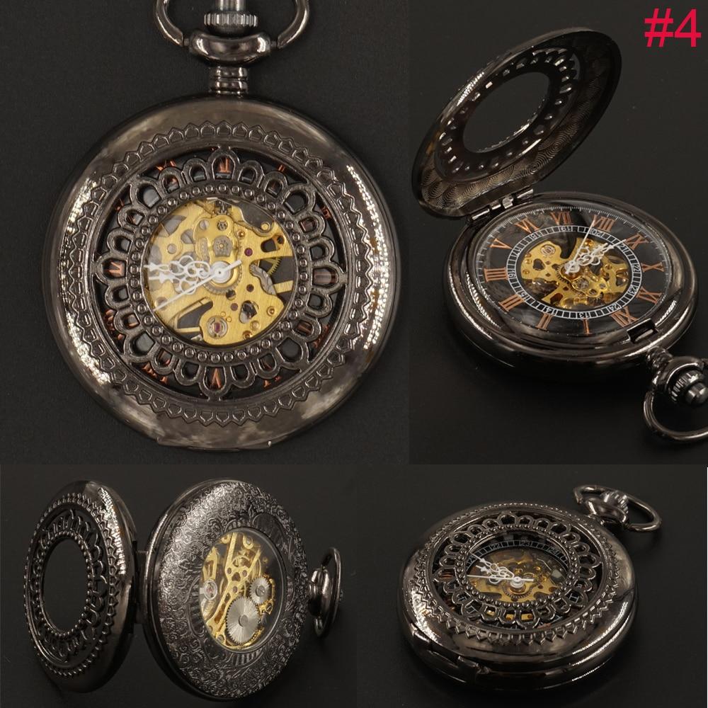 Vintage Black Hand Wind mechanische Taschenuhren Kette Mens Geschenke Steampunk Skeleton FoB Uhrenbox Freies Verschiffen Hohlstahl