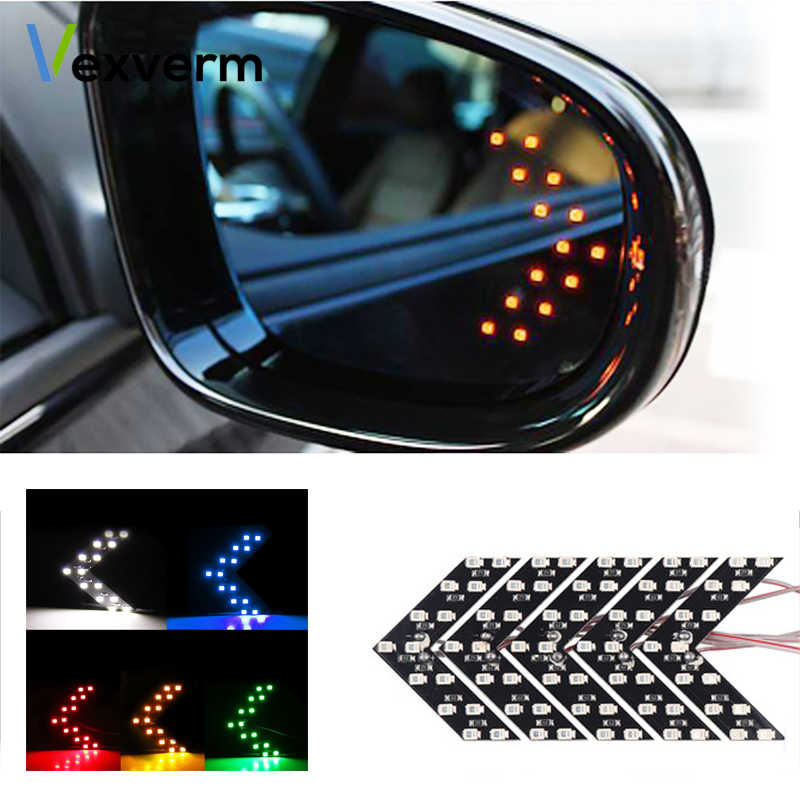 Vexverm 14 SMD LED Arrow Panel For Car Rear View Mirror Indicator Turn Signal Light Car LED Rearview mirror Light Daytime light