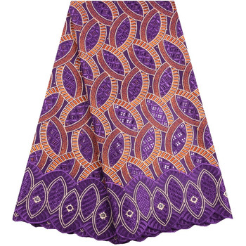 Swiss Voile Lace In Switzerland High Quality Purple Embroidery African Dry Cotton Lace Fabric For Nigerian Voile Lace Fabric