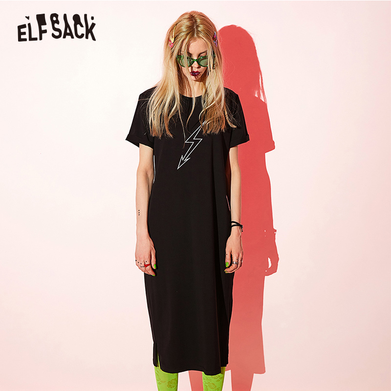 ELF SACK Black Cotton Letter Print Women Holiday Dress Fashion Casual O Neck Female Dresses 2019 Summer Streetwear A Line Dress-in Dresses from Women's Clothing    1