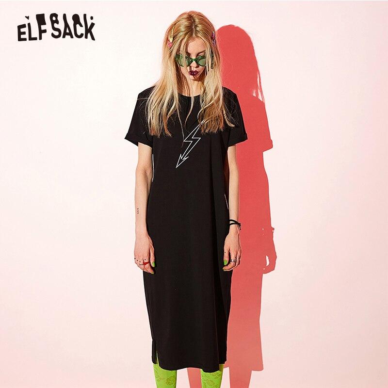 ELF bag noir coton lettre imprimer femmes vacances robe décontracté o-cou femmes robes 2019 été Streetwear a-ligne robe