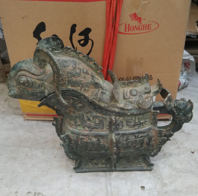 38 cm * / Ancient Chinese bronze drakes censer