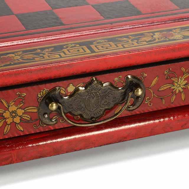 Haute qualité 32 pièces/ensemble résine échecs chinois avec Table en bois café Vintage à collectionner cadeau divertissement jeu de société 5
