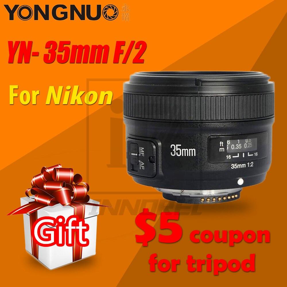 YONGNUO YN35mm F2.0 F2N objectif AF/MF grand angle à mise au point fixe pour Nikon F Mount D7100 D3200 D3300 D3100 D5100 D90 appareil photo reflex numérique 35mm