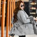 Estilo coreano senhoras Inverno casaco de pele de médio-longo moda de Luxo top quality faux pele de raposa casaco feminino outerwear Quente parkas