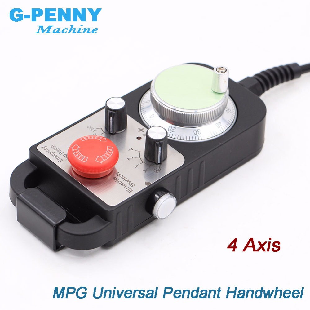 Free Shipping Universal CNC 4 Axis MPG Pendant Hand wheel 100 pulse 5v Emergency Stop