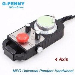 Gratis Verzending! Universele CNC 4 Axis MPG Hanger handwiel 100 puls 5v & & Noodstop CNC Router Handwiel 4 as type