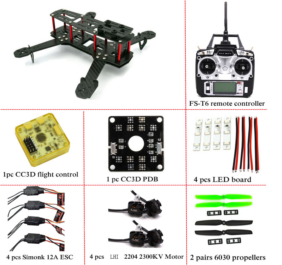 Carbon Fiber Mini QAV250 C250 Quadcopter Frame Motor 12A Esc CC3D Flight Control carbon fiber mini 250 rc quadcopter frame mt1806 2280kv brushless motor for drone helicopter remote control