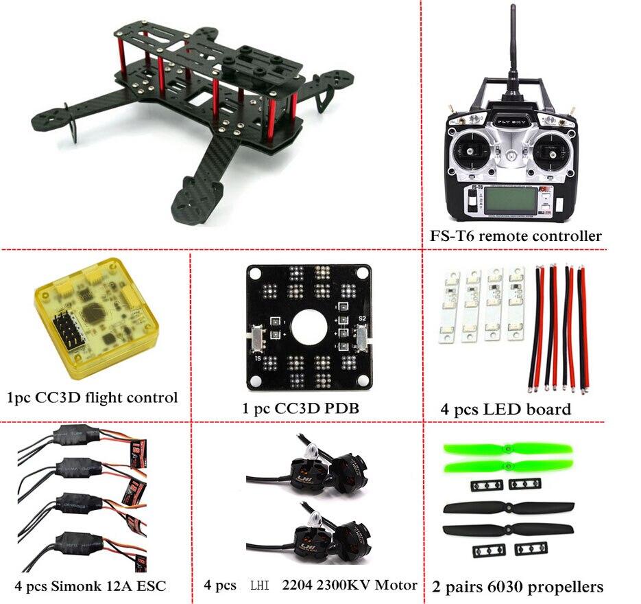Carbon Fiber Mini QAV250 C250 Quadcopter Rahmen Motor 12A Esc CC3D ...