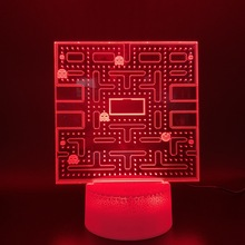 Game PAC MAN 3D Night Lamp Home Decoration Crafts Cool Baby Nightlight Bright Base Touch Sensor Usb 3d LED Light Pacman