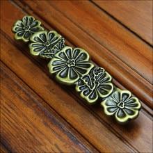 vintage creative flower handles 64mm bronze drawer cabinet pulls knobs 128mm bronze dresser kitchen cabinet door handle retro 5″