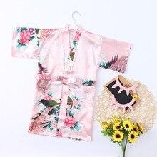 Одежда для малышей Детская одежда для девочек с цветочным рисунком Шелковый атласное кимоно; наряд халат, одежда для сна пижамы для детей