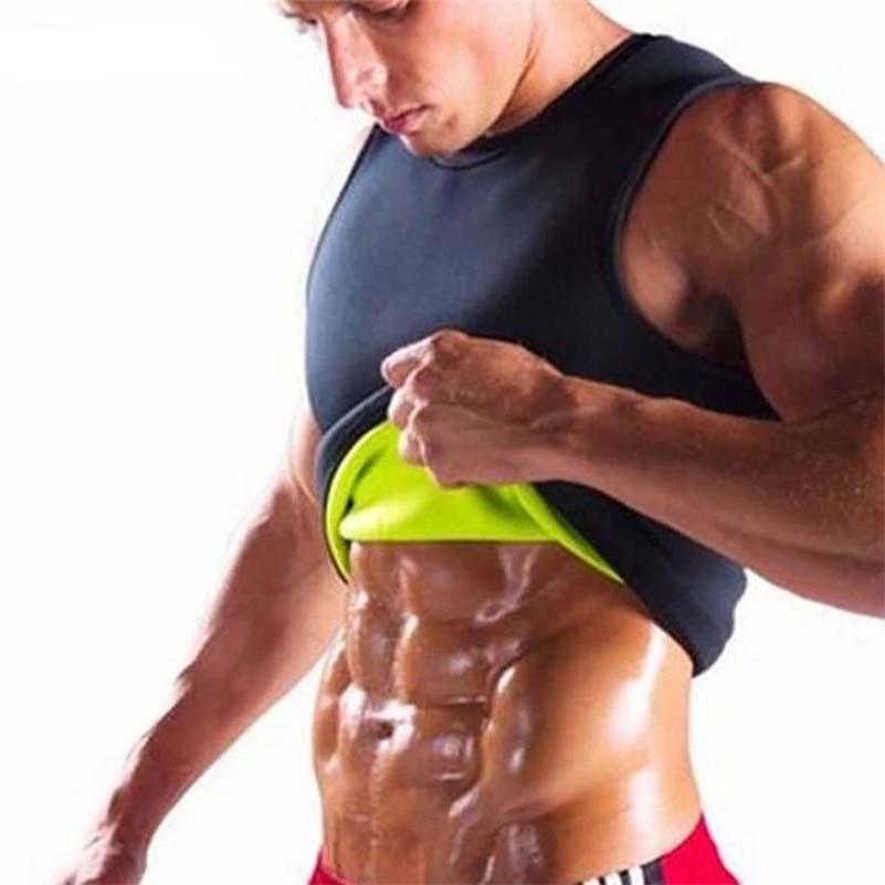 цена на Men Waist Belly Trainer Fat Burning Fitness Vest Weight Loss Hot Neoprene Sportswear Body Shaper Sauna Sweat Vest Workout Shirt