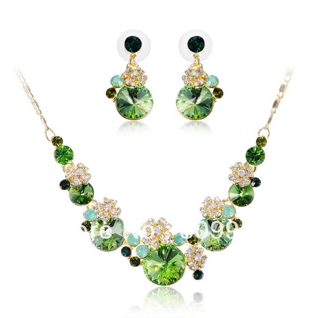 Free Shipping Cheap Sale Fashion Green Rhinestone Jewelry Sets Gold Plated Bridal Necklace Set Woman Wedding/Party Jewelry