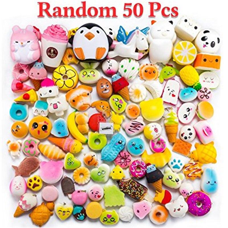 Random 50 Pcs Squishies Cream Scented Slow Rising Kawaii Simulation Lovely Toys Jumbo Medium Mini Soft Squishies, Phone Straps