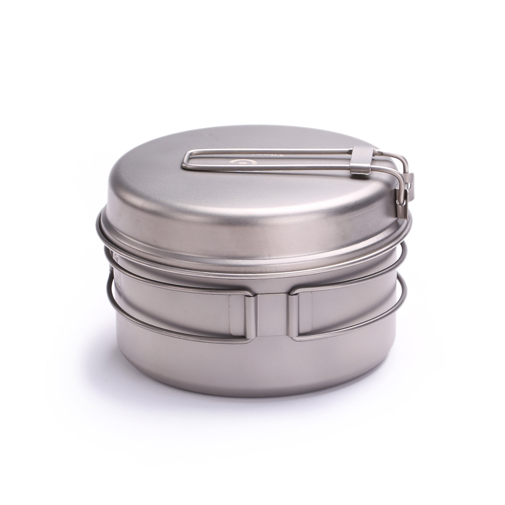 Outdoor Tableware Ultralight Portable Titanium Pot Outdoor Camping Titanium Bowl Multifunction Outdoor Travel Tool Wok 1450ml keith double wall titanium beer mugs insulation drinkware outdoor camping coffee cups ultralight travel mug 320ml 98g ti9221