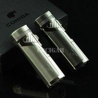 Fashion Luxury COHIBA 4 Flame Quadruple Torch Windproof Refillable Butane Gas Cigarette Cigar Lighter W Punch