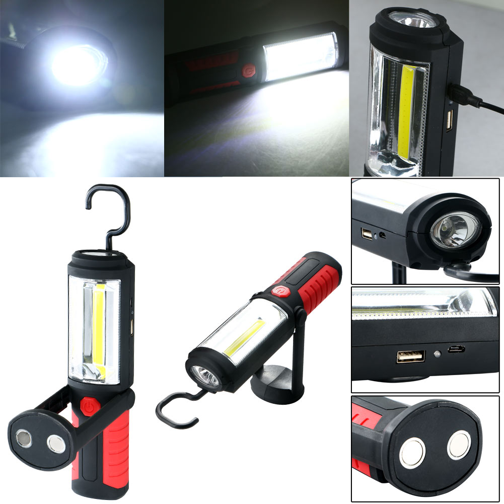 Portable Magnetic Rechargeable 360 COB LED WorkLight Hand Torch Lamp With Hook 18650 Lithium Battery magnetic rechargeable muted pure silica