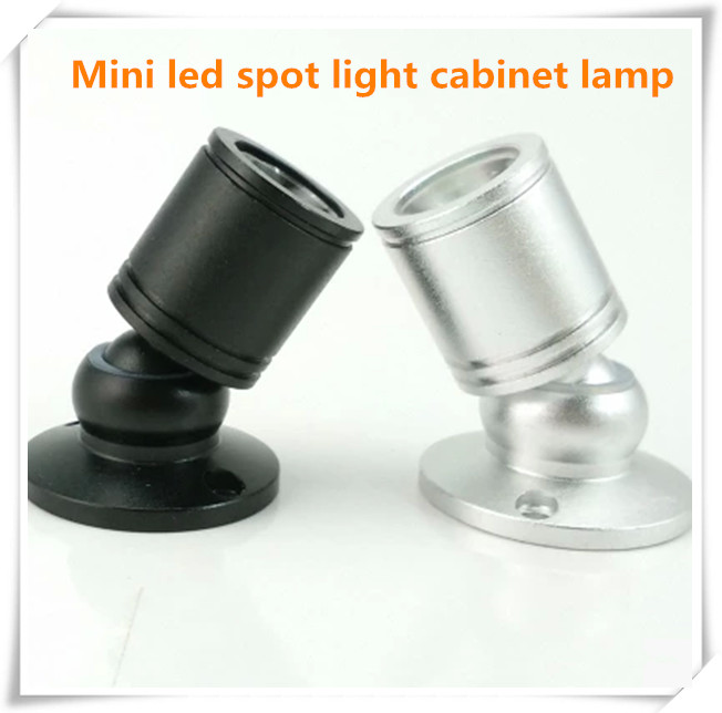 50pcs/lot 1W/3W Surface Mounted LED Cabinet light, mini led spotlight for super market,silver and black