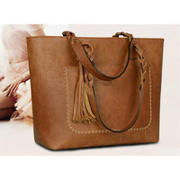 XLY&R Famous Brand Leather Handbag Bolsas Mujer Large Vintage Tassel Shoulder Bags Women Shopping Tote Purse sac a main 2