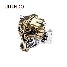 Pure 925 Sterling Silver Jewelry Head Gladiator Helmet Skull Rings Fashion Pirate Skeleton Punk Ring For Men Width Version 295
