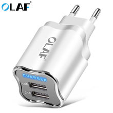 OLAF Universal 2 Ports USB Charger LED Light Power Adapter Fast Charging Mobile Phone Charger For Samsung Xiaomi EU/US Chargers(China)