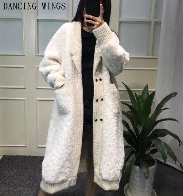 Femmes Hiver Vraie Fourrure De Laine Manteaux Épais Chaud Longue Veste Survêtement 100% Laine Geniune Fourrure Veste Femmes Vêtements