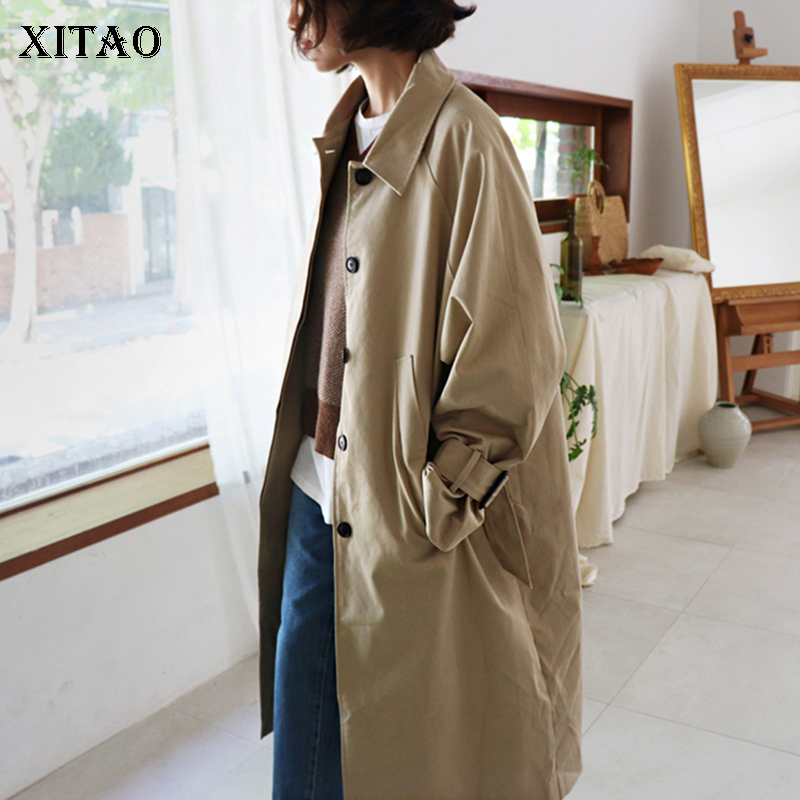 [XITAO] Single Breasted Women 2018 Winter Fashion New Wide-waisted Turn-down Collar Full Sleeve Long Solid Color   Trench   LYH2129