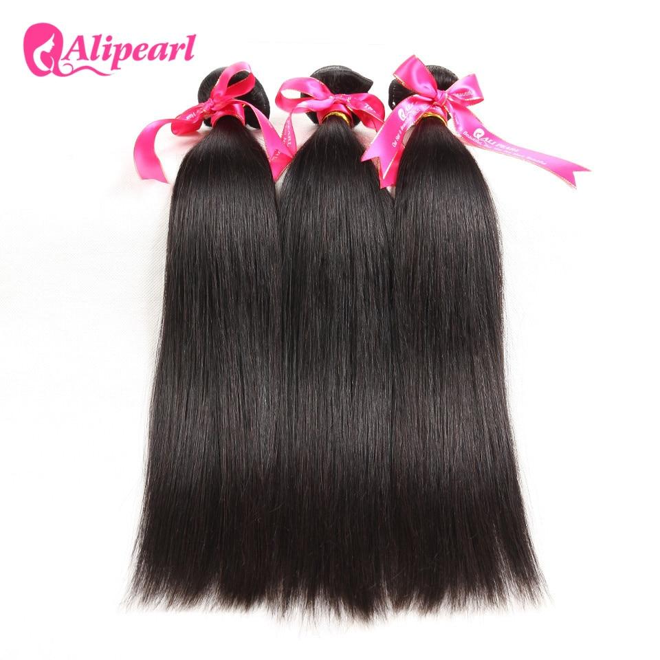 Alipearl Hair 100% Human Hair Bundles With Closure Brazilian Straight Hair Weave 3 Bundles Natural Black Remy Hair Extensions Hair Extensions & Wigs
