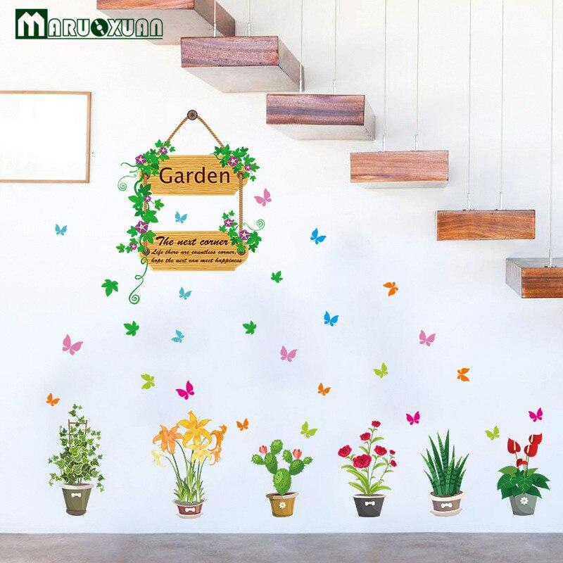 Заводские Новый садовых растений цветы свежий горшке Стекло Дверные рамы коридор декоративная Наклейки на стену