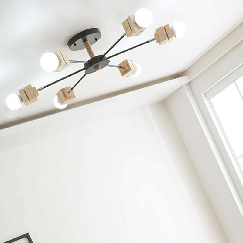 A1 Nordic wood ceiling lamps restaurant creative personality Korean living room lamps bedroom modern minimalist ceiling lights