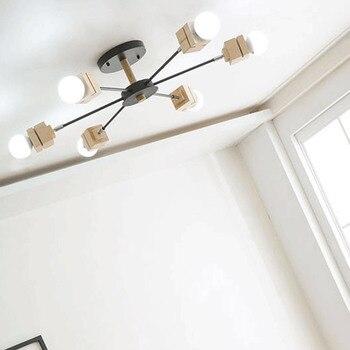 Nordic wood ceiling lamps restaurant creative personality Korean living room lamps bedroom modern minimalist ceiling lights