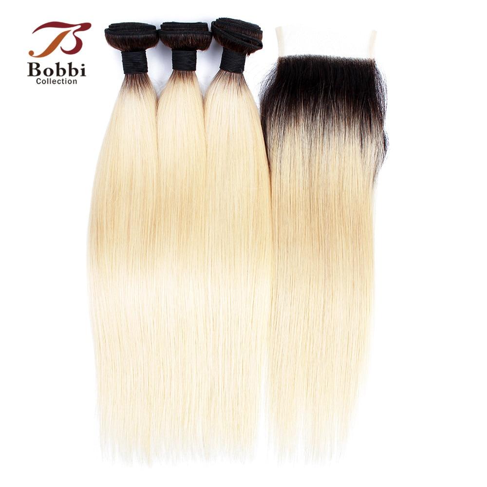 BOBBI COLLECTION T 1B 613 Dark Root Platinum Blonde Ombre Bundles With Closure Peruvian Straight Remy Human Hair 10-30 Inch