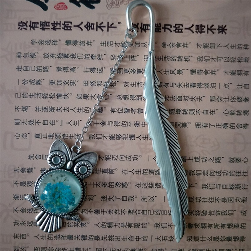 1pc Luminous Glow In The Dark Silver Copper Feather Shape Owl Bookmarks Creative Gift For Friends