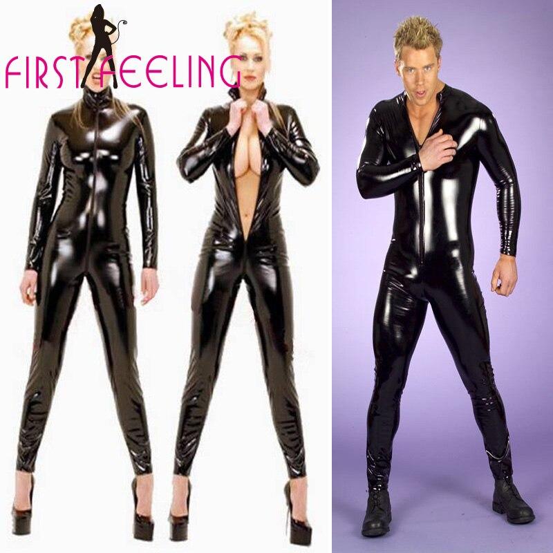 Plus Size S-XXXL Men Women New Sexy Black Faux Leather Bodysuit Open Crotch Zipper Bondage Catsuit Unisex Cool Clubwear Leotard
