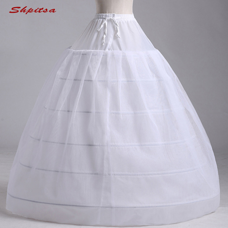 White Tulle 6 Hoops Petticoat Woman for Ball Gown Wedding Dress Crinoline Underskirt Hoop Skirt