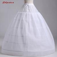 White Tulle 6 Hoops Petticoat Woman for Ball Gown Wedding Dress Crinoline Underskirt Hoop Skirt