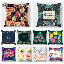 Fuwatacchi Plant Tropical  Printed Cushion Cover Flower Rose Palm Tree Pillow Case Flamingo Home Car Decorative Pillows