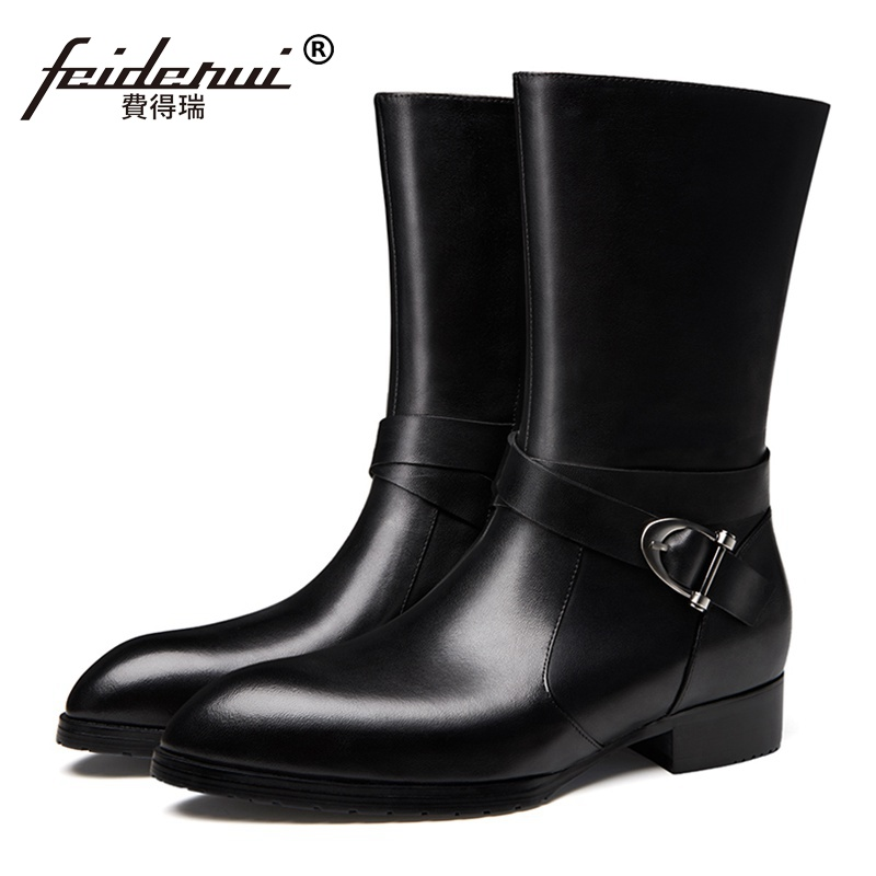 New Arrival Fashion Man High Heels Motorcycle Riding Shoes Genuine Leather Pointed Toe Men s Cowboy