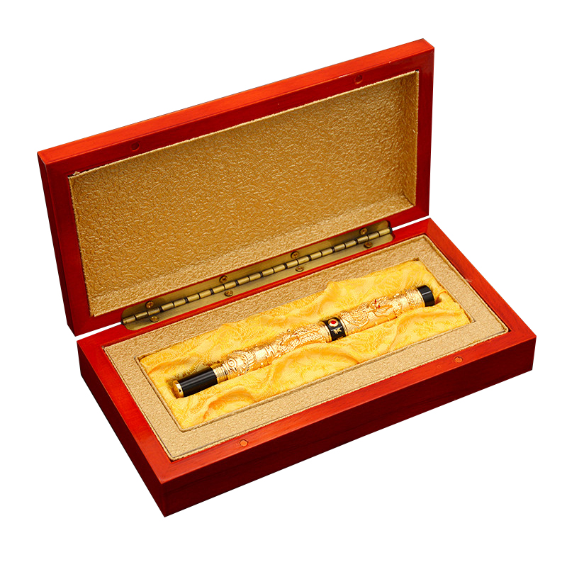 High-end Business Gift Fountain Pen Fine Nib Double Dragon Metal 0.5mm Ink Pens with A Luxury Gift Box School Office Supplies most popular duke confucius bent nib art fountain pen iraurita 1 2mm calligraphy pen high end business gift pens with a pen case