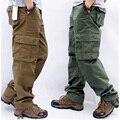 Calças de carga masculina dos homens casuais multi bolsos calças táticas militares outwear calças retas calças compridas tamanho grande 42 44
